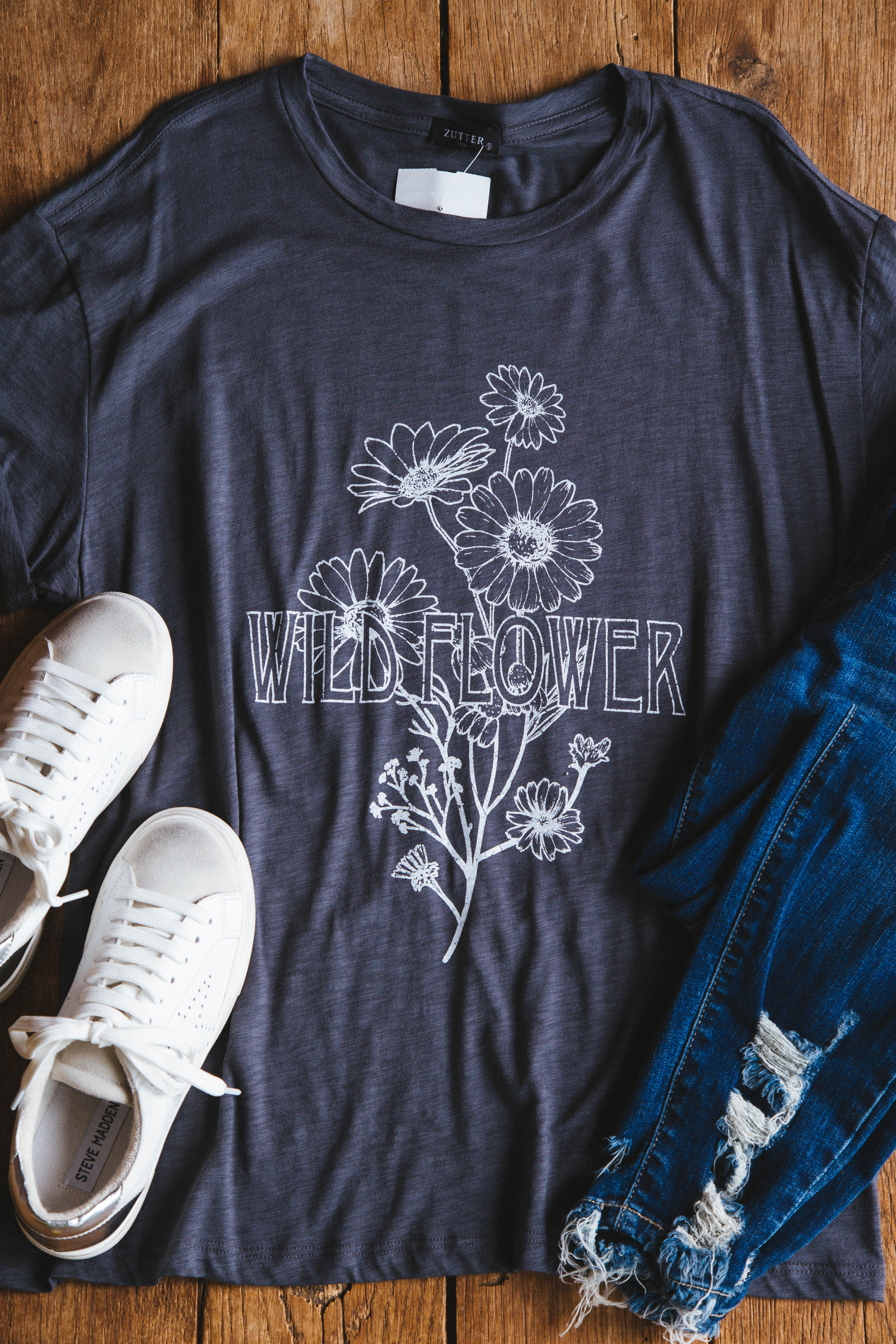 Vintage Wildflower Graphic Tee Charcoal