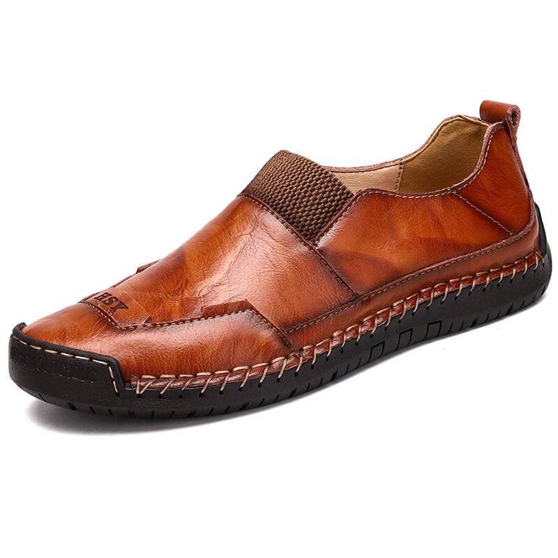 Men Hand Stitching Elastic Panels Soft Sole Large Size Casual Leather Shoes