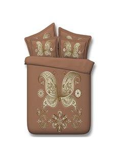 Splendid Golden Butterfly Apricot Print 5-Piece Comforter Sets