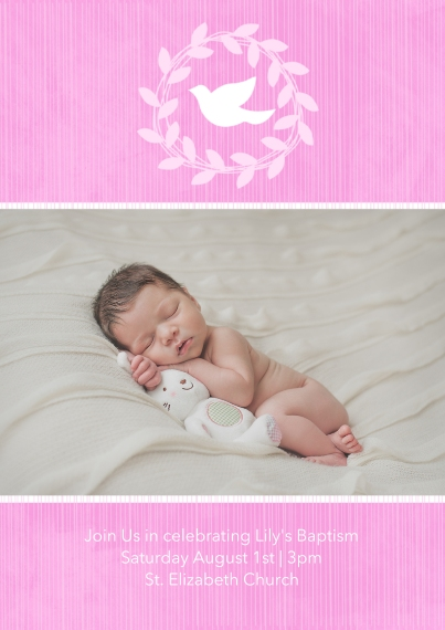 Christening + Baptism 5x7 Cards, Standard Cardstock 85lb, Card & Stationery -Wreathed Dove - Orchid