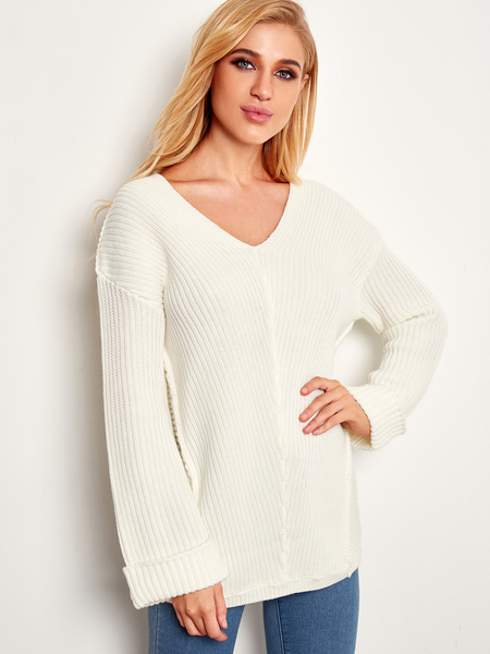 Yoins White Plain V-neck Roll-up Sleeves Sweaters