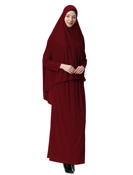 Milanoo Women Two Piece Abaya Clothing Long Sleeve Hooded Solid Color Muslim Maxi Dress Suit