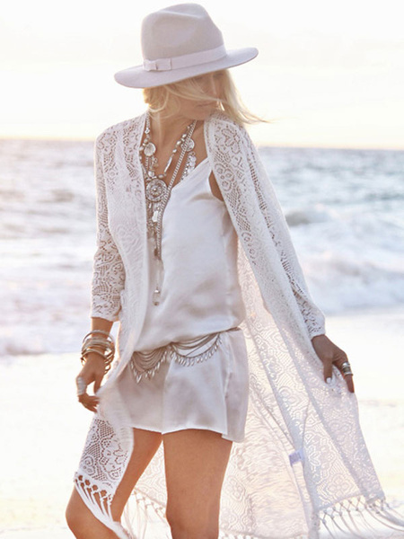 Milanoo Lace Women Beachwear Fringe Batwing Sleeve Sheer White Coverup