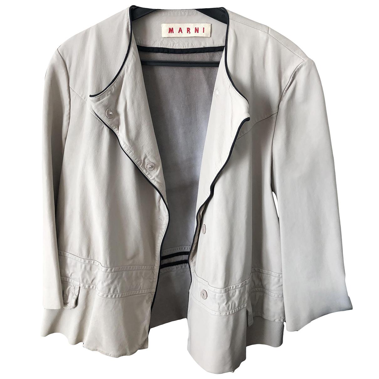Marni \N Ecru Leather jacket for Women 42 FR