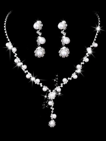 Milanoo Pearls Wedding Jewelry Set Silver Rhinestones Bridal Vintage Necklace And Earrings