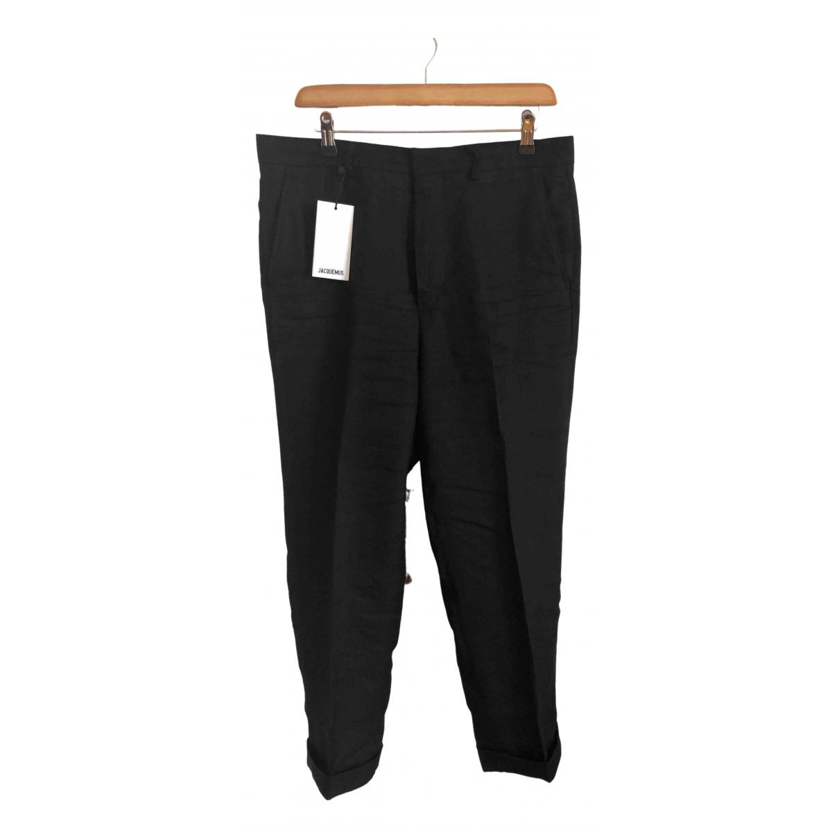 Jacquemus Le Gadjo Black Linen Trousers for Men 48 IT