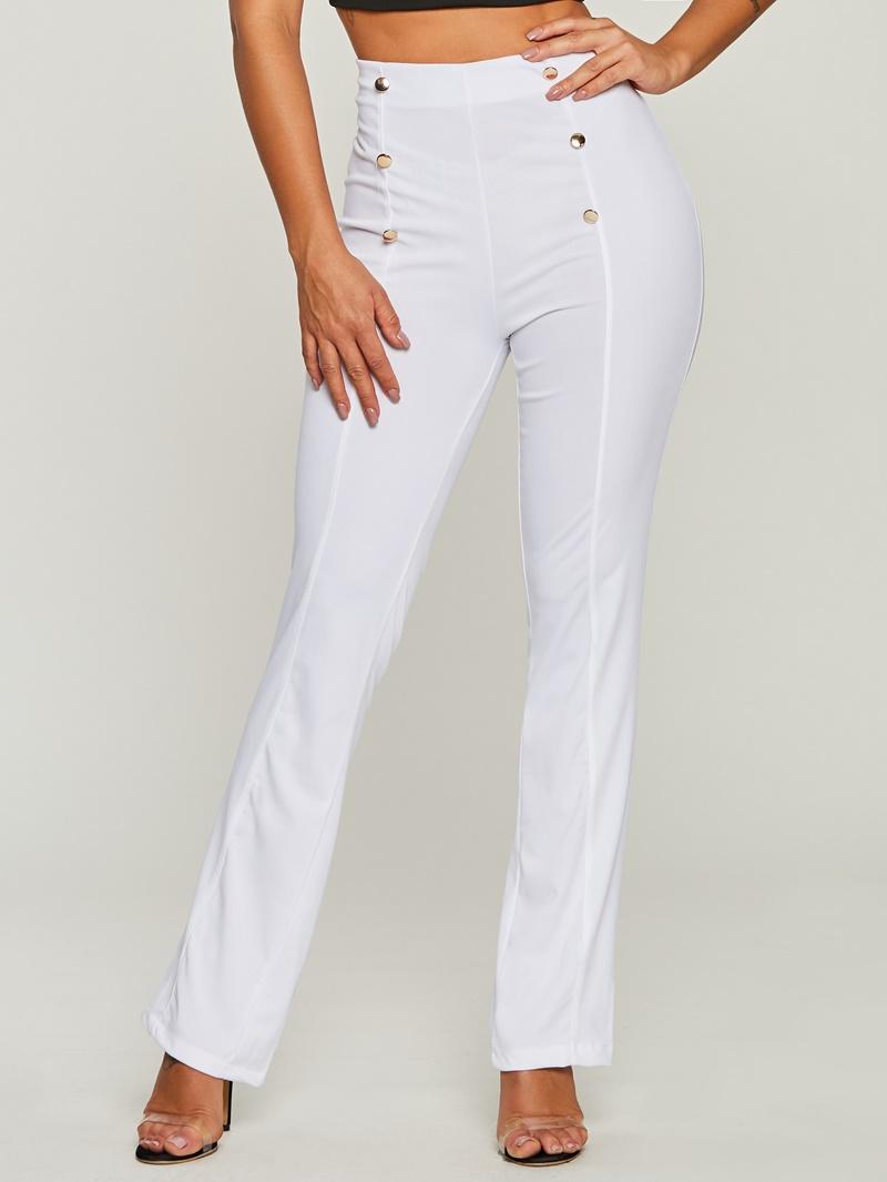 Women's Clothing High-Waist Button Bellbottoms Pants