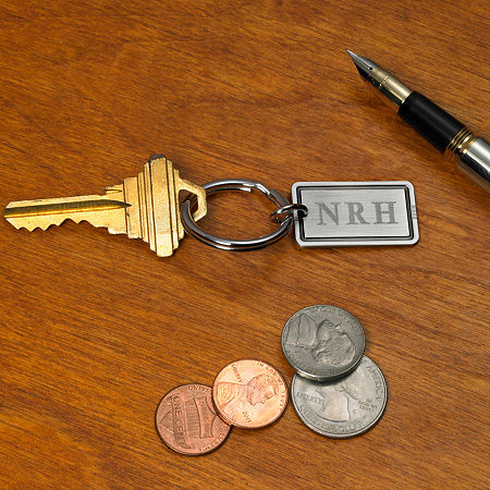 Antique Silver Personalized Key Ring, One Size , Silver