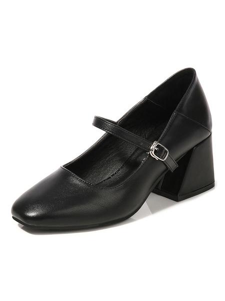 Milanoo Vintage Mid Heels For Women Retro Square Toe Flared Heel Mary Jane Block Heel Pumps