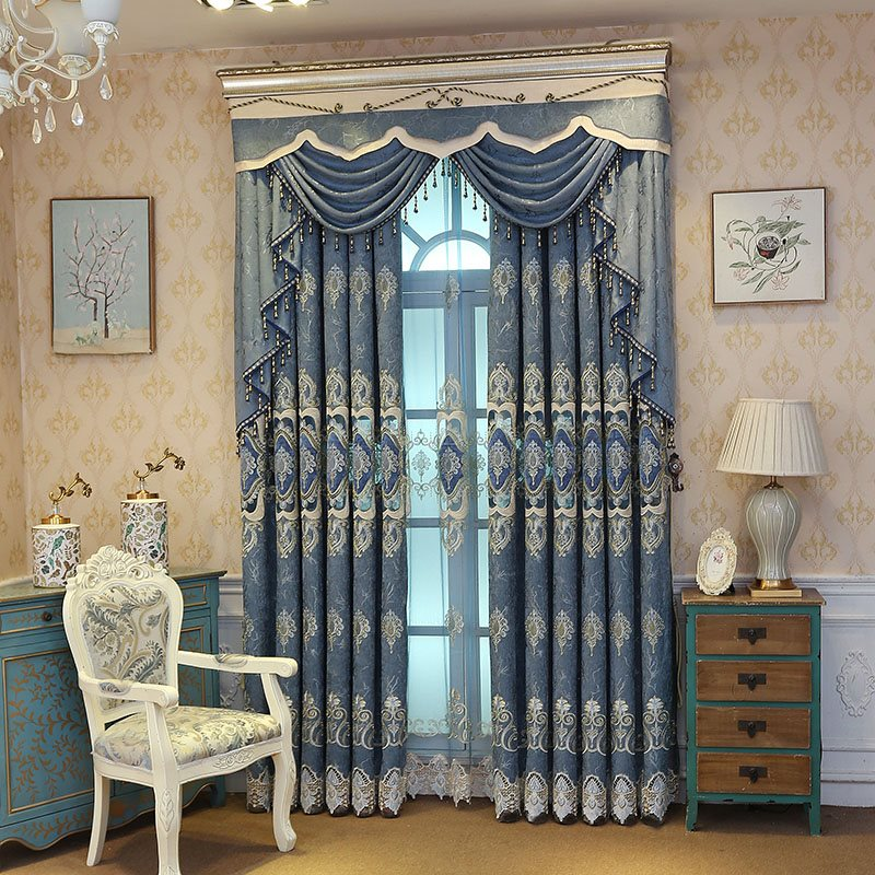 Elegant River Blue Embroidered Hollowed-out Designing Curtain Panels For Living Room and Bedroom