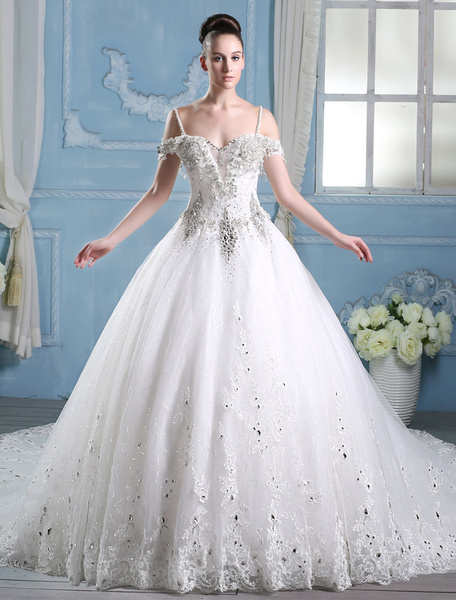 Milanoo Wedding Dresses Ball Gown Bridal Dress Rhinestones Beaded Straps Ivory Cathedral Train Luxury Wedding Gown