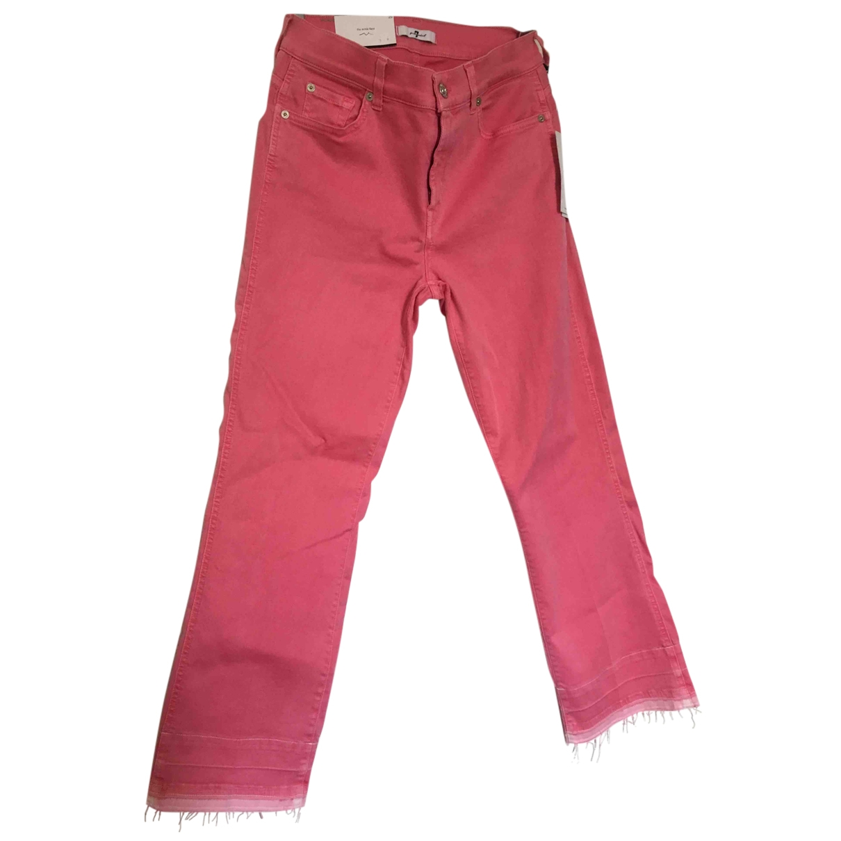 7 For All Mankind \N Pink Cotton - elasthane Jeans for Women 29 US
