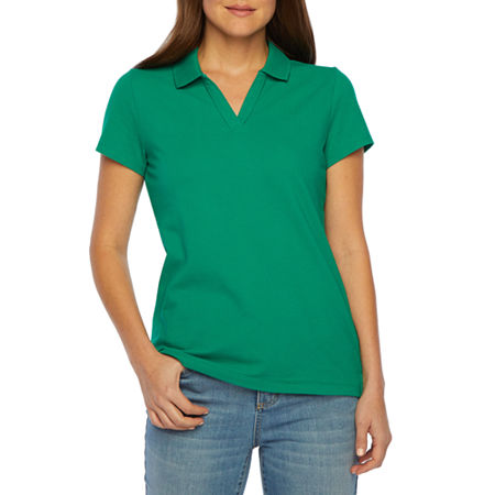 St. John's Bay Petite Womens Short Sleeve Knit Polo Shirt, Petite Medium , Green