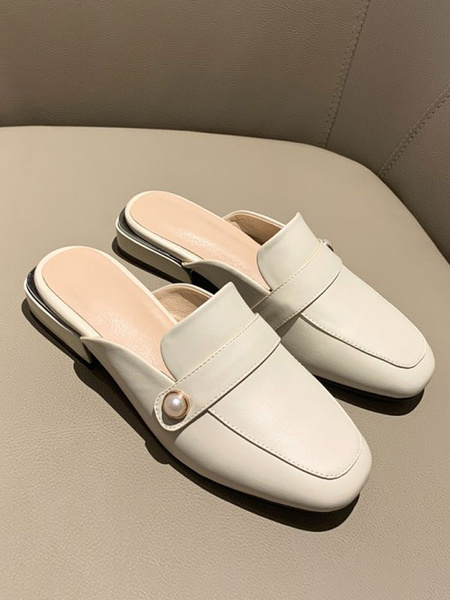 Milanoo Women White Mules PU Leather Square Toe Pearls Slip-On Slide Shoes