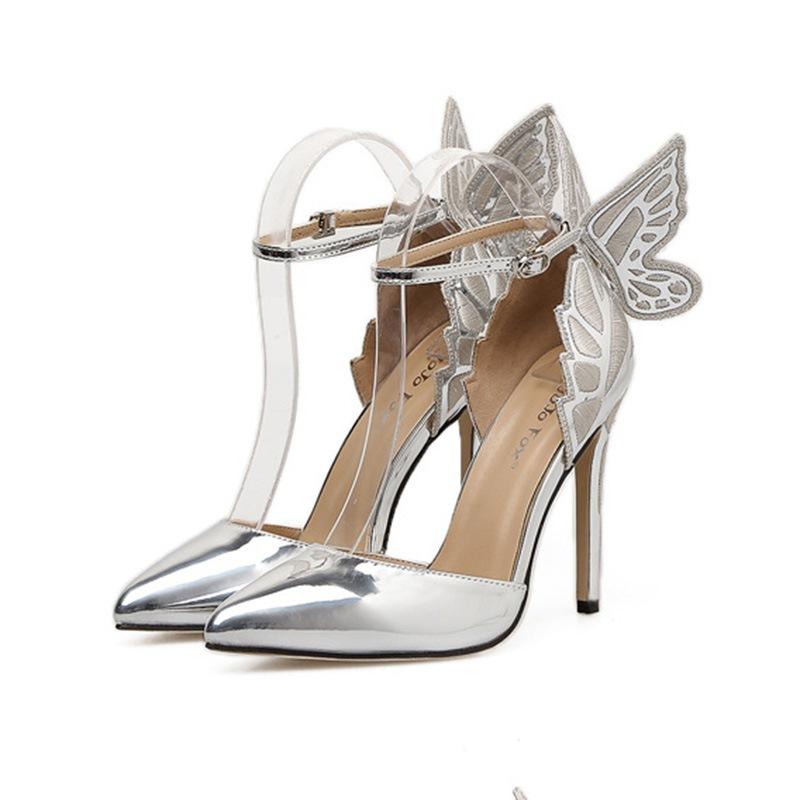 Ericdress Wing Pointed Toe Plain Stiletto Heel Pumps