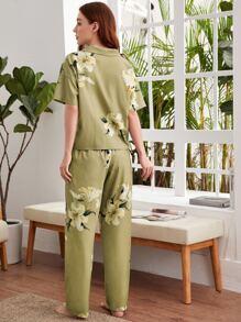 Lily Print Button Top & Pants PJ Set