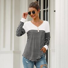 Striped Button Front Curved Hem Tee