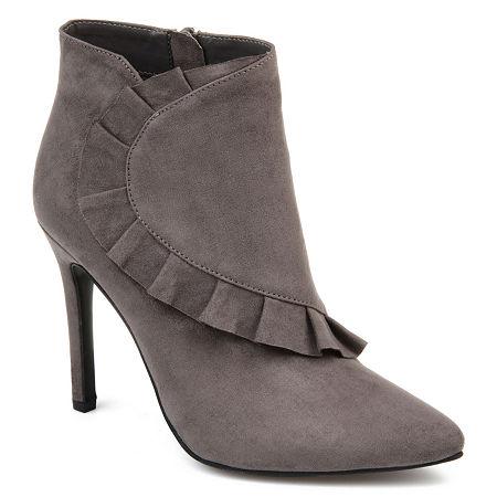 Journee Collection Womens Cress Stiletto Heel Zip Booties, 11 Medium, Gray