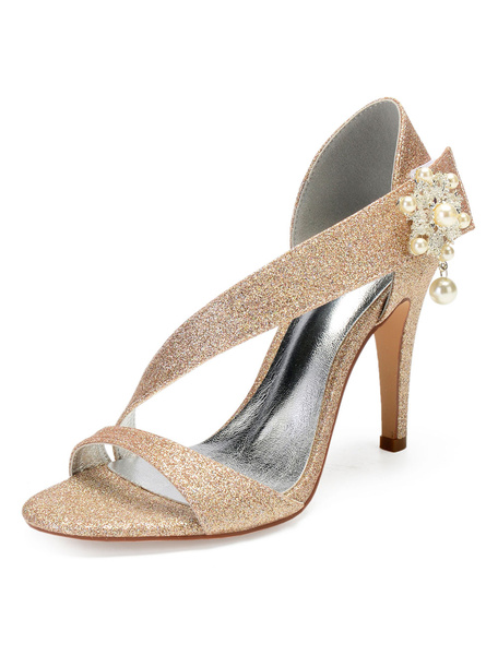 Milanoo Glitter Party Shoes Champagne Open Toe Rhinestones Strappy Wedding Shoes High Heel Bridal Sandals