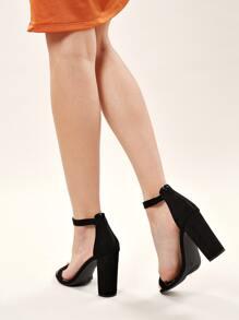 Open Toe Back Zipper Chunky Heel Sandals