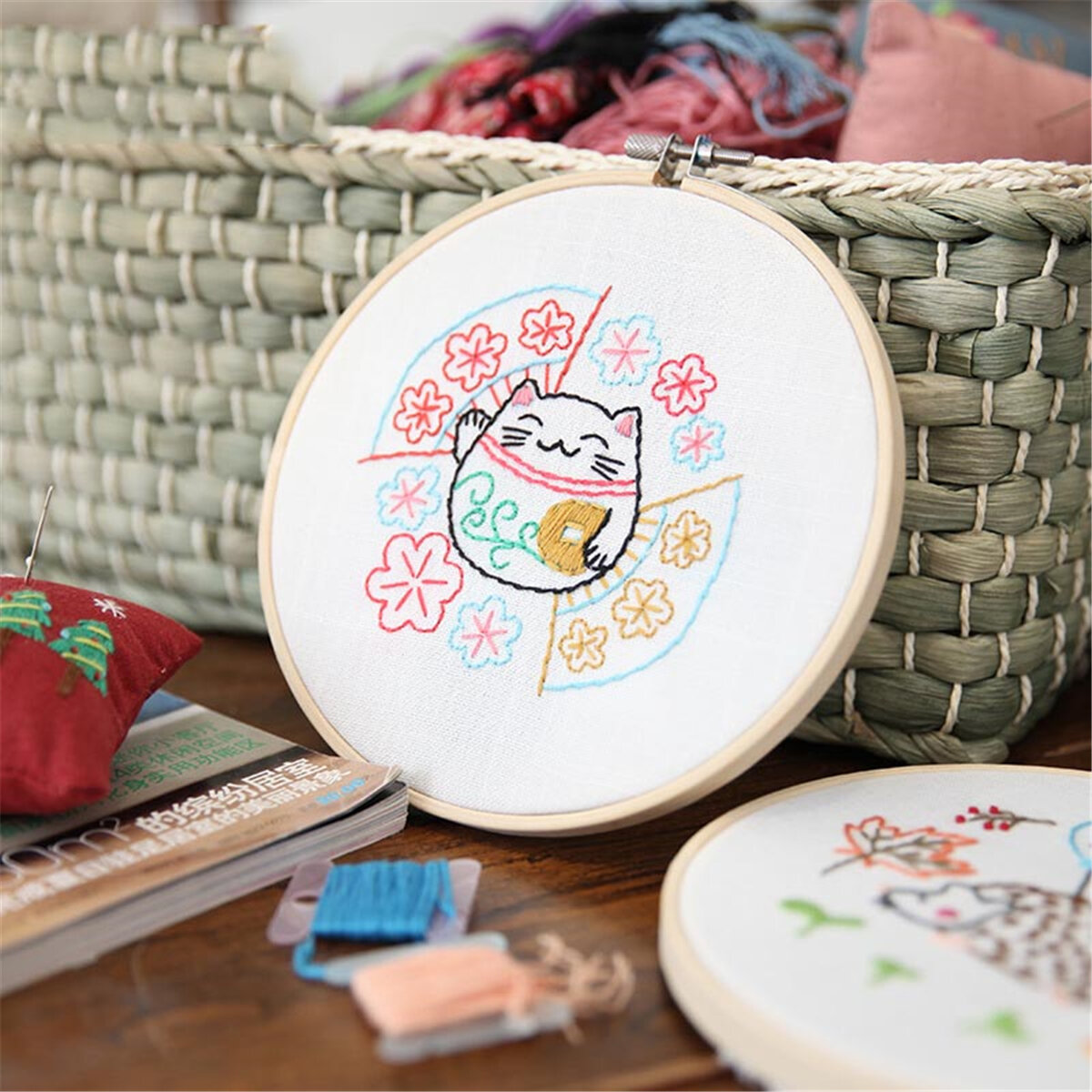 Cartoon DIY Ribbons Embroidery For Beginner Needlework Kits Cross Stitch Craft Sewing Supplies Home Wall Decor