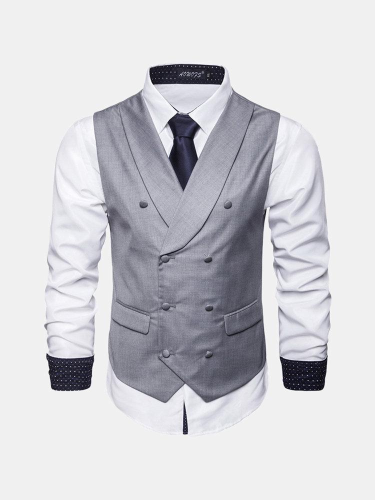 Men Business Solid Color Lapel Collar Single Breasted Vest