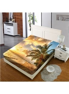 Beach And Coconut Trees In The Golden Sunshine Reactive Printing 1-Piece Polyester Bed Cover / Mattress Cover