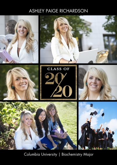 2020 Graduation Announcements 5x7 Cards, Standard Cardstock 85lb, Card & Stationery -2020 Stylish by Tumbalina