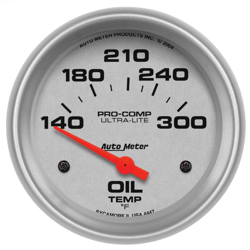 AutoMeter GAUGE; OIL TEMP; 2 5/8in.; 140-300deg.F; ELECTRIC; ULTRA-LITE