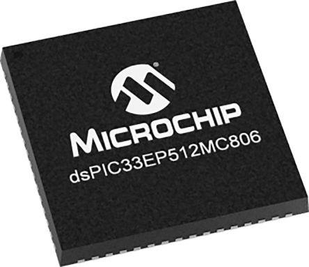 Microchip DSPIC33EP512MC806-I/MR  DSPIC, 16bit Digital Signal Processor 60MHz 536 kB Flash 64-Pin QFN (40)