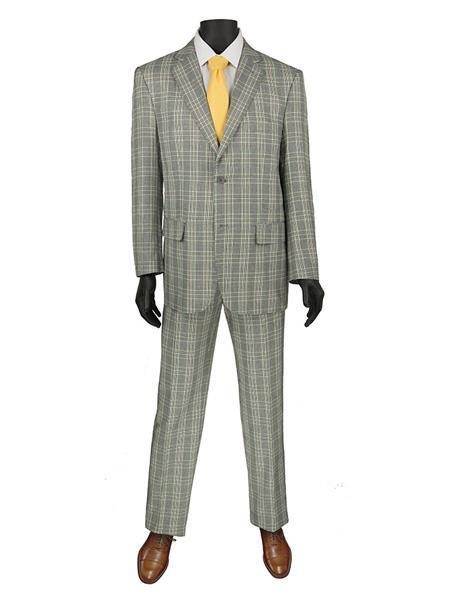 Mens Plaid ~ Window Suit 2 Button Suit Grey