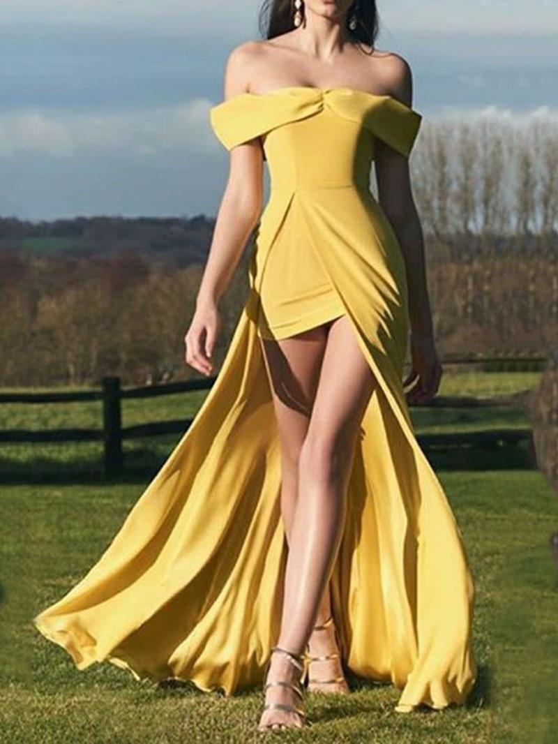 Ericdress Off Shoulder Asymmetric Floor-Length Cocktail Dress