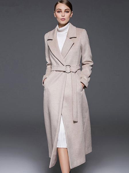 Milanoo Ecru White Coat Notch Collar Long Sleeve Women's Winter Wool Coats