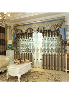 European Style Hollowed-out Embroidered Blackout Decorative Curtain Panels for Living Room