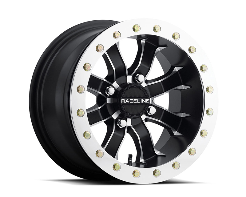 Raceline Wheels A7127011-52 Mamba Black w/ Machine Face 12x7 4x110 (5+2)
