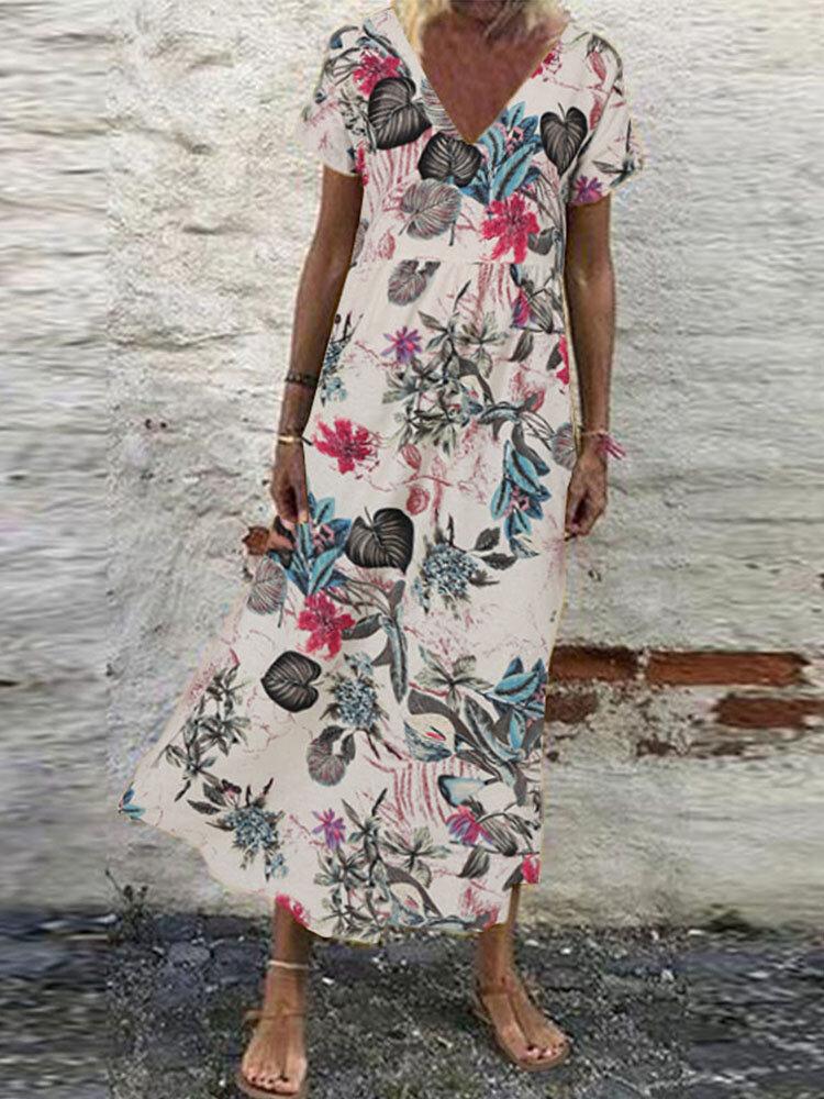 Bohemian Floral Print V-neck Plus Size Dress
