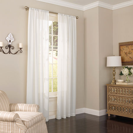 Eclipse Chelsea Sheer Rod-Pocket Single Curtain Panel, One Size , White
