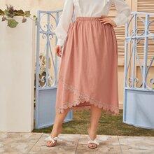 Plus Contrast Lace Elastic Waist Skirt