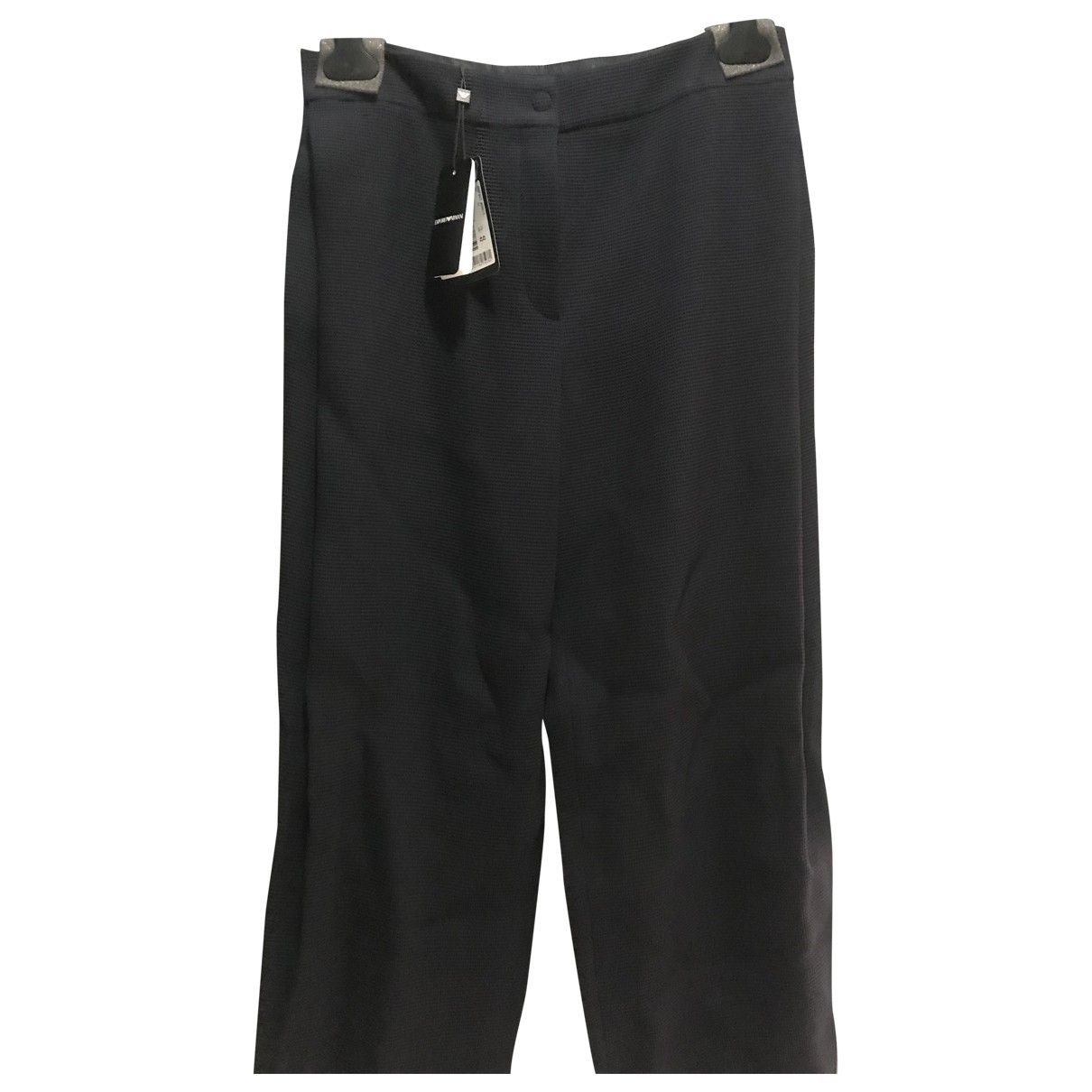 Emporio Armani \N Navy Wool Trousers for Women 42 IT