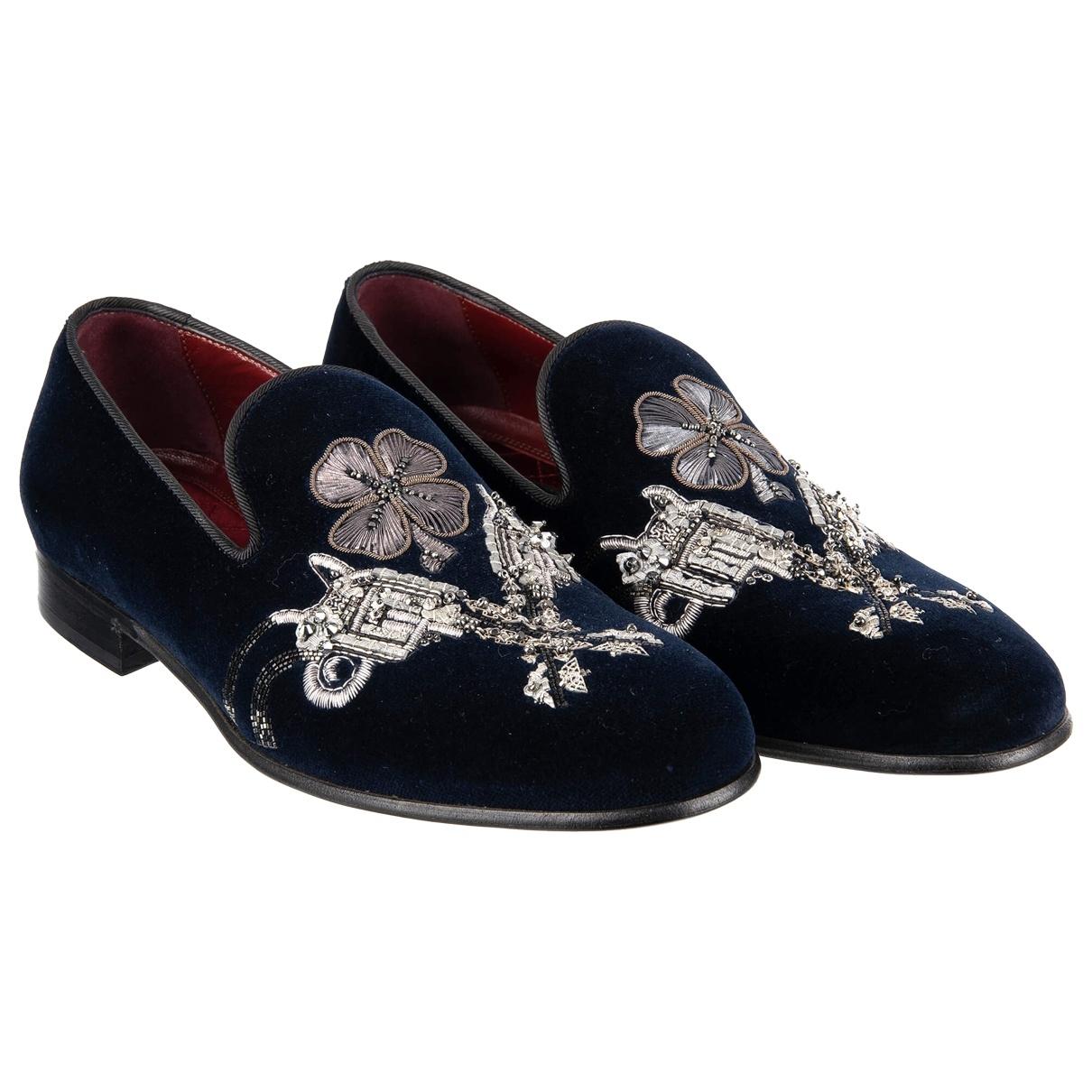 Dolce & Gabbana \N Black Velvet Flats for Men 40 EU