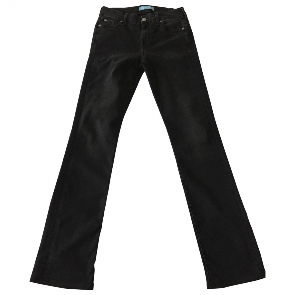 7 For All Mankind \N Black Cotton - elasthane Jeans for Women 26 US