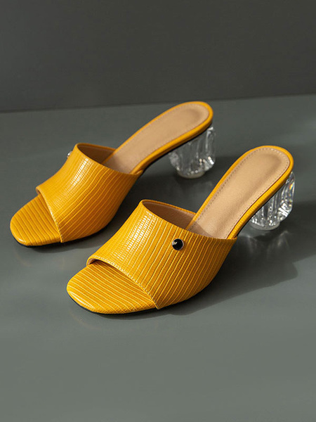 Milanoo yellow Womens Sandals Clear Block Heel Slippers Square Open Toe Plus Size Shoes