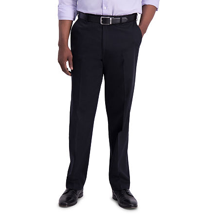 Haggar  Iron Free Premium Khaki Classic Fit Flat Front Pants, 36 32, Black
