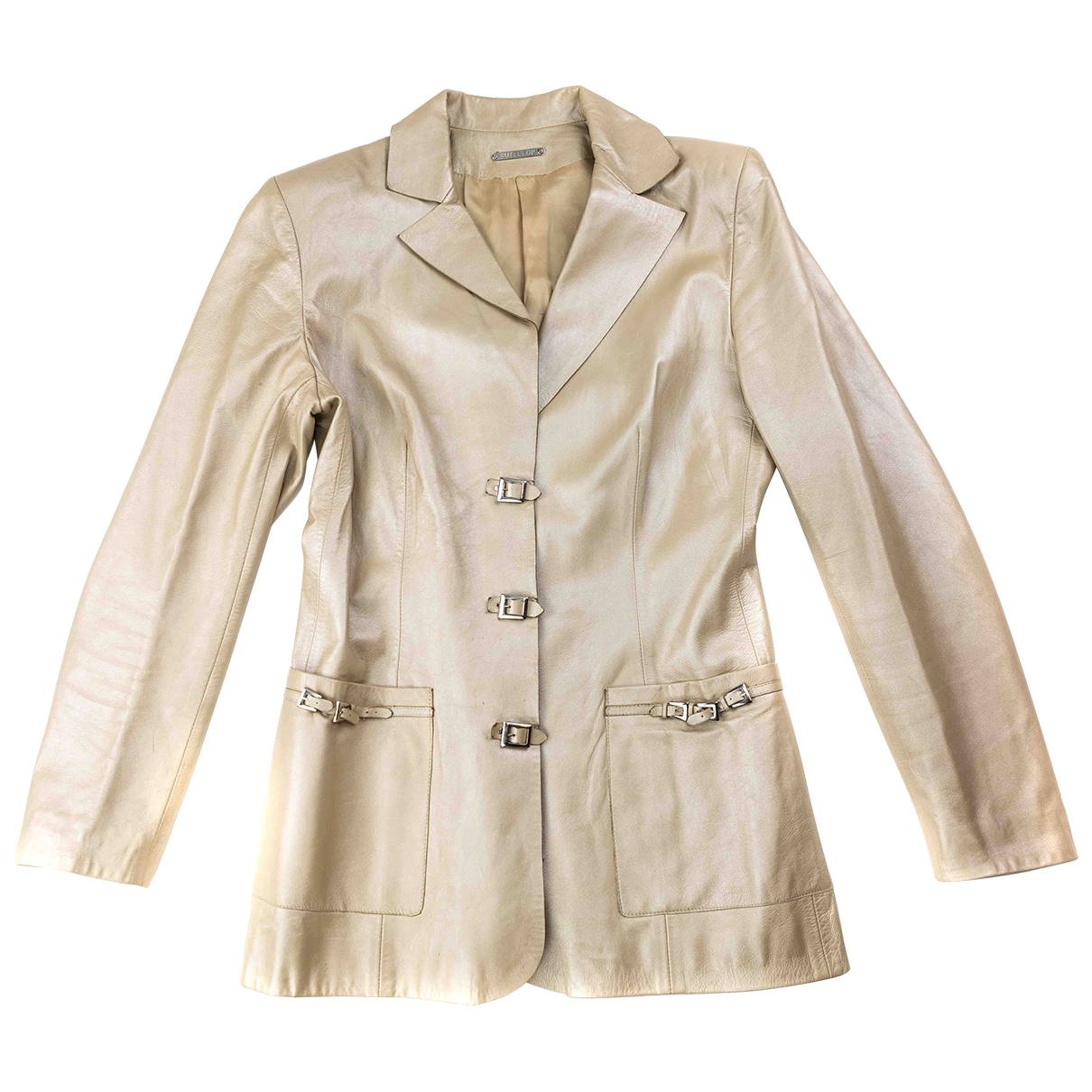 Non Signé / Unsigned Epaulettes Beige Leather jacket for Women 38 FR