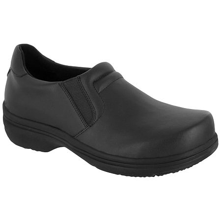 Easy Works By Easy Street Womens Round Toe Bind Clogs, 6 1/2 Extra Wide, Black