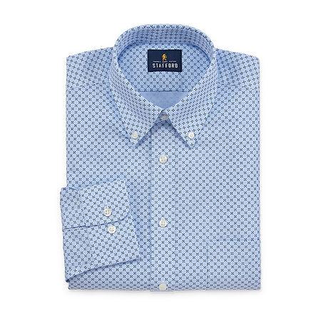 Stafford Mens Wrinkle Free Oxford Button Down Collar Regular Fit Dress Shirt, 17.5 36-37, Blue