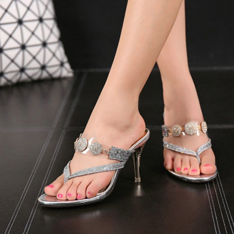 Ericdress Rhinestone&Sequin Thong Slip-On Stiletto Heel Mules Shoes