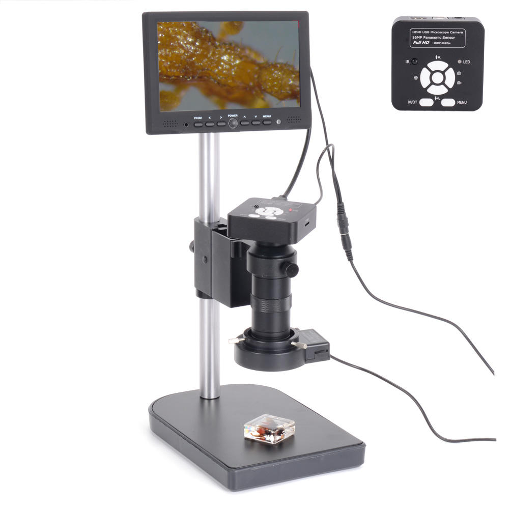 HAYEAR 16MP 1080P USB Digital Industry Video Soldering Microscope Camera 7 Inch LCD Screen 100X C-MOUNT Lens Zoom 40 LED