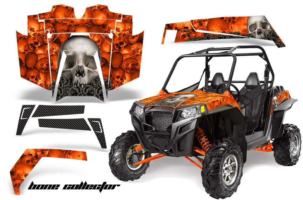 AMR Racing  Full Custom UTV Graphics Decal Kit Wrap Bones Orange Polaris RZR XP 900 11-14