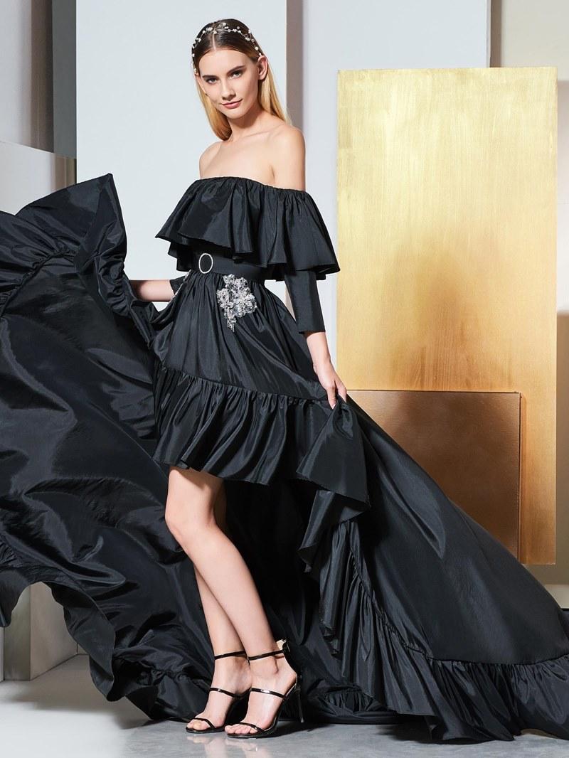 Ericdress Strapless Asymmetry High Low Black Evening Dress
